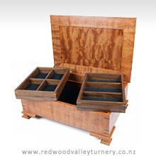 Wooden Beech & Walnut Jewellery Box